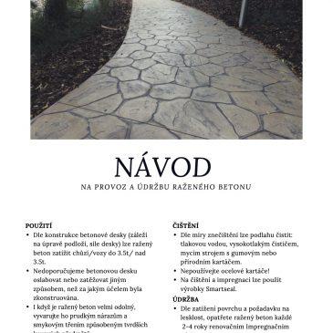 Návod na údržbu raženého betonu